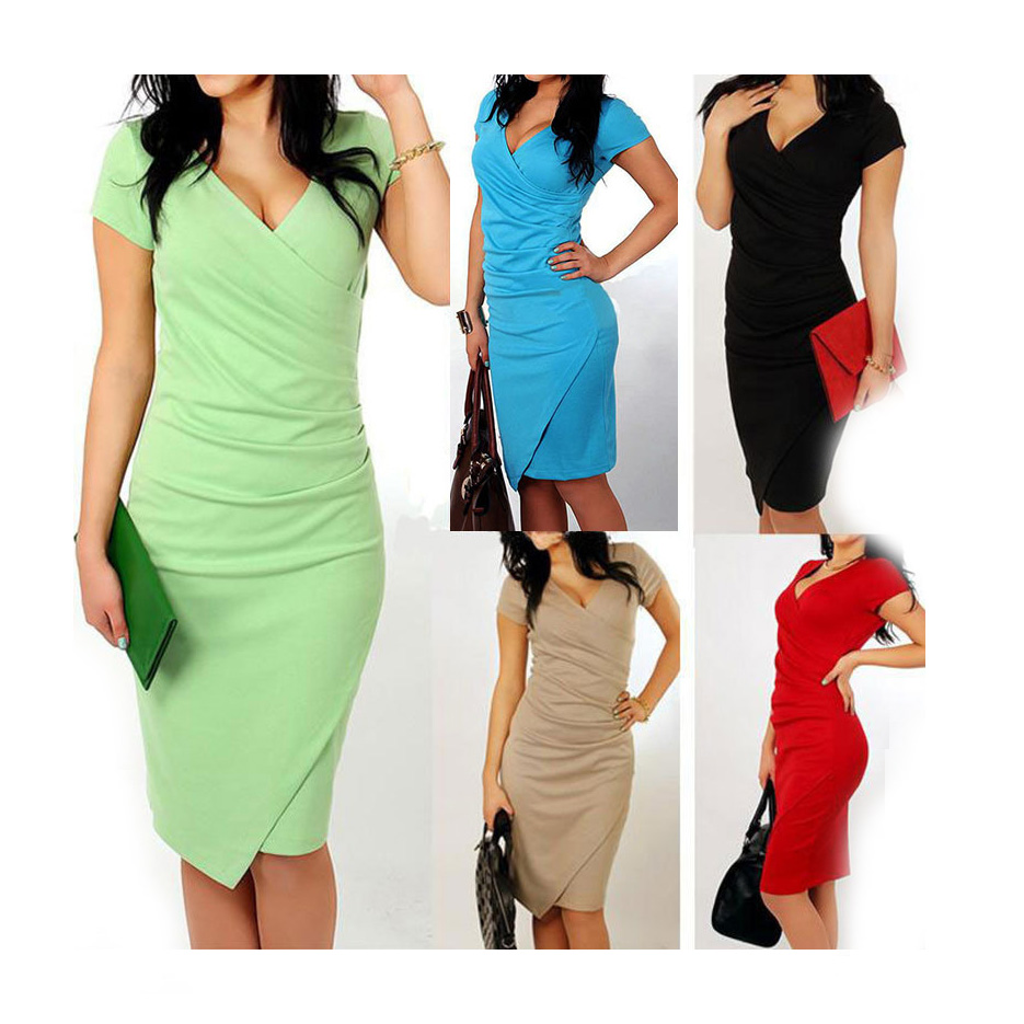 Women Summer Casual Short Sleeve Dress Bodycon Clubwear Party Pencil Long Dress