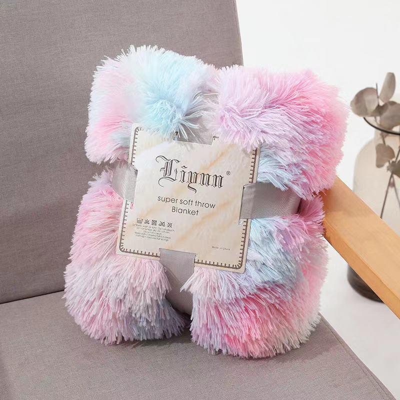 2020 new arrival super soft double plush rainbow mink sofa throw blanket manta