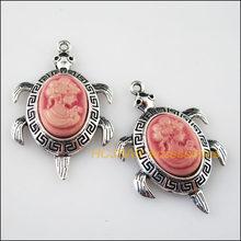 5 шт. Тибетский серебристый цвет смешанные красивые подвески из смолы 27.5x41.5mm(Китай)