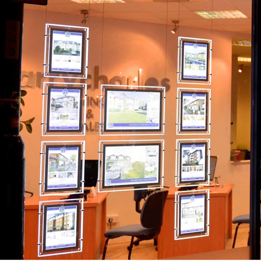 advertising real estate sign board light box hanging track picture frame acrylic pocket display