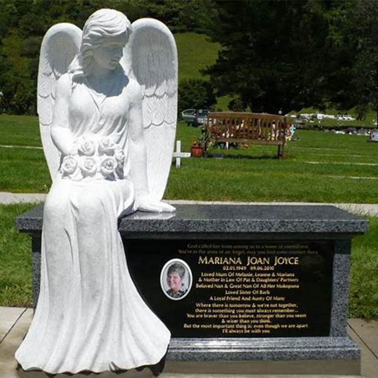 Hand Carved Natural White Marble Headstone with Angel