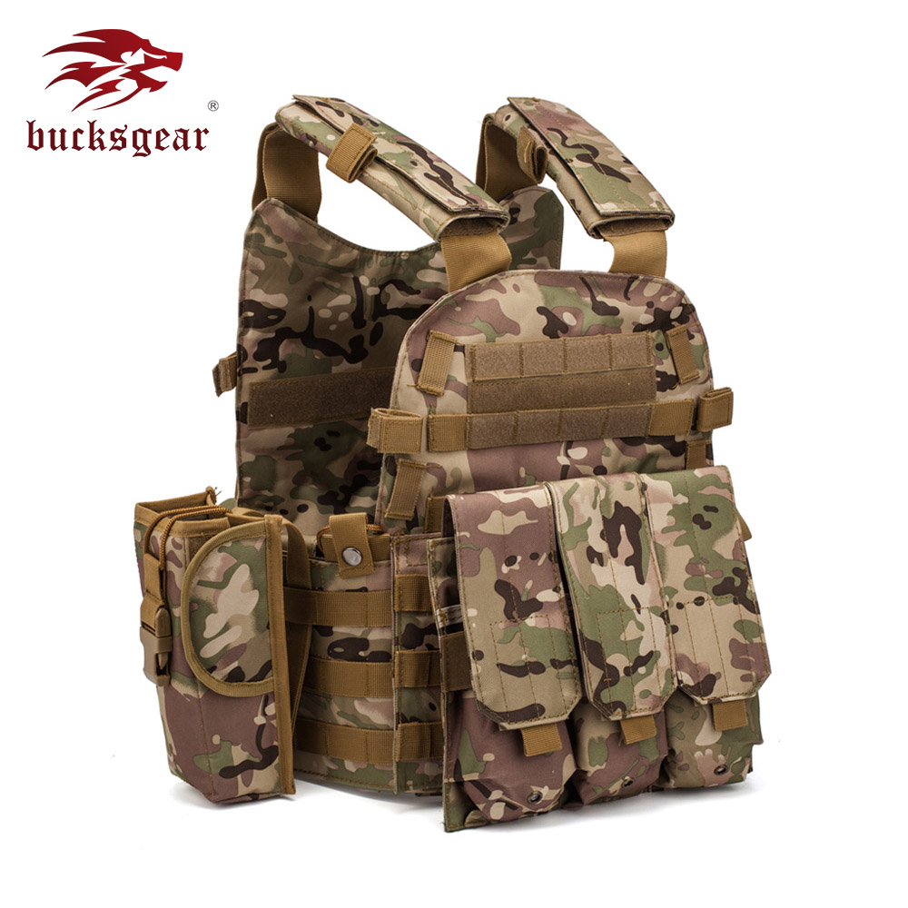Bucksgear Wholesale Military Weight Jungle Tactical combat plate carrier With Molle US Army military combat vest 6094