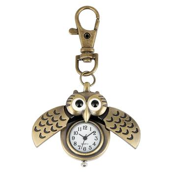 Free Shipping Antique Bronze Cute Owl Pocket Watch Fob with Key Chain