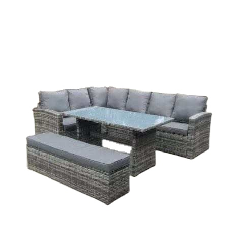 L shape Patio Rattan Sofa Dining Sets in stock