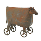 Decor Table Hengfa Outdoor Indoor Home Decor Dairy Cattle Table Top Metal Art Rusty Wheel Cow