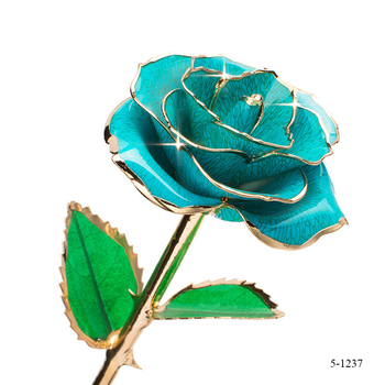 Wedding Return Gift 24k Flower with Long Stem 24k Gold Rose Flower For Wedding Decoration
