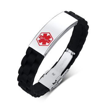 New arrival OBE Fashionable stainless steel bent brand corrosion red blue men's medical sign silicon rubber bracelet