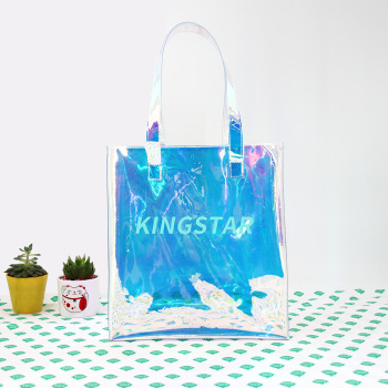 BSCI Customized Holographic Iridescent Handbag Shopping Beach Bag Clear Hologram PVC Tote Bag