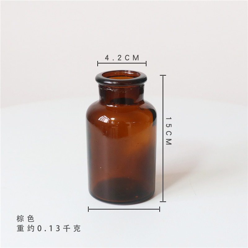 ins decorative laboratory pharmacy European creative round transparent brown glass storage bottle