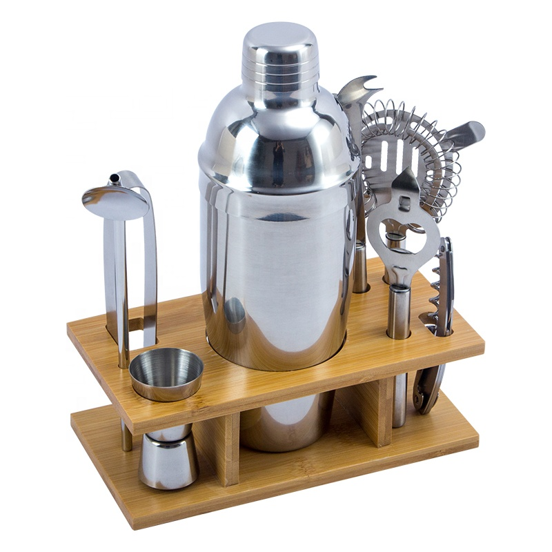 9-Piece Premium Quality Stainless Steel Bartender Kit Cocktail Shaker Bar Set with Bamboo Stand