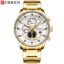 Мужские часы CURREN Новая мода нержавеющая сталь Топ бренд класса люкс многофункциональный хронограф кварцевые наручные часы Relogio Masculino(Китай)
