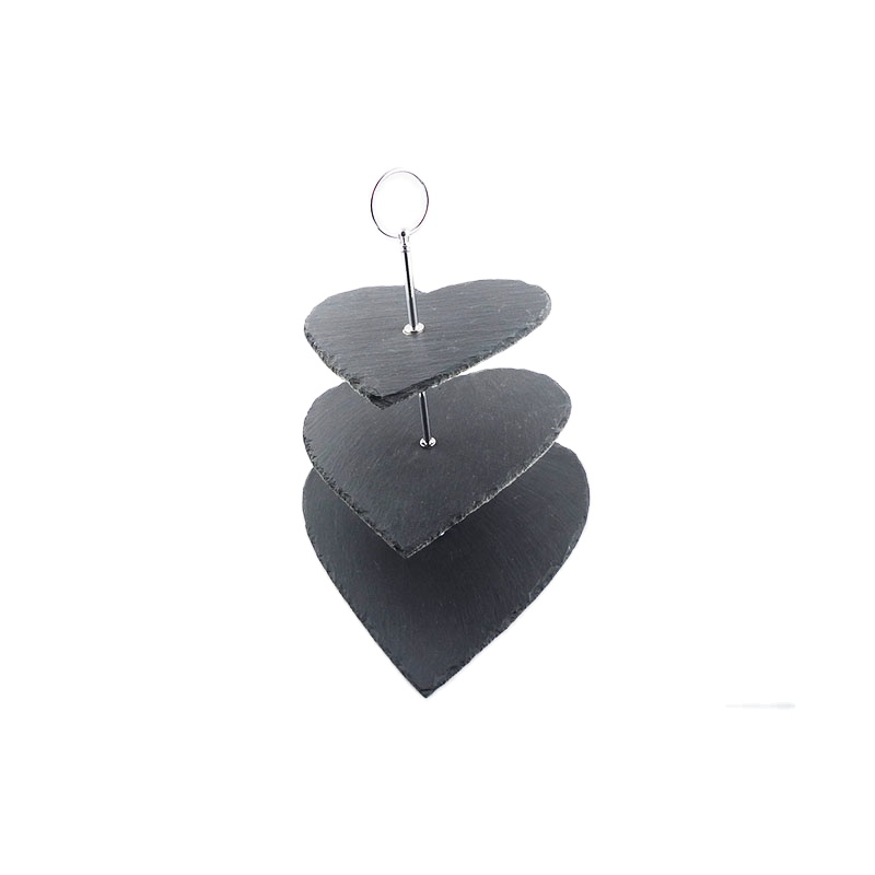 Rustic Natural Edge 30*25*34cm Heart Shape 3 Tier Slate Cake Stand Stone Cake Stand With Metal Handle