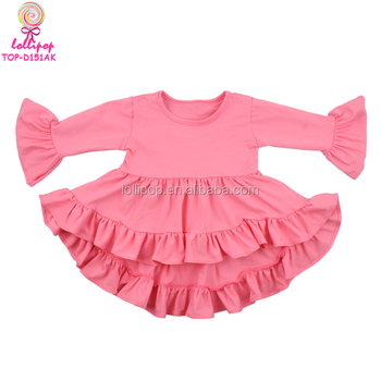 New arrival lovely high low ruffle tops baby dress cutting coral kids frock designs pictures 1-6 years old baby dress pictures