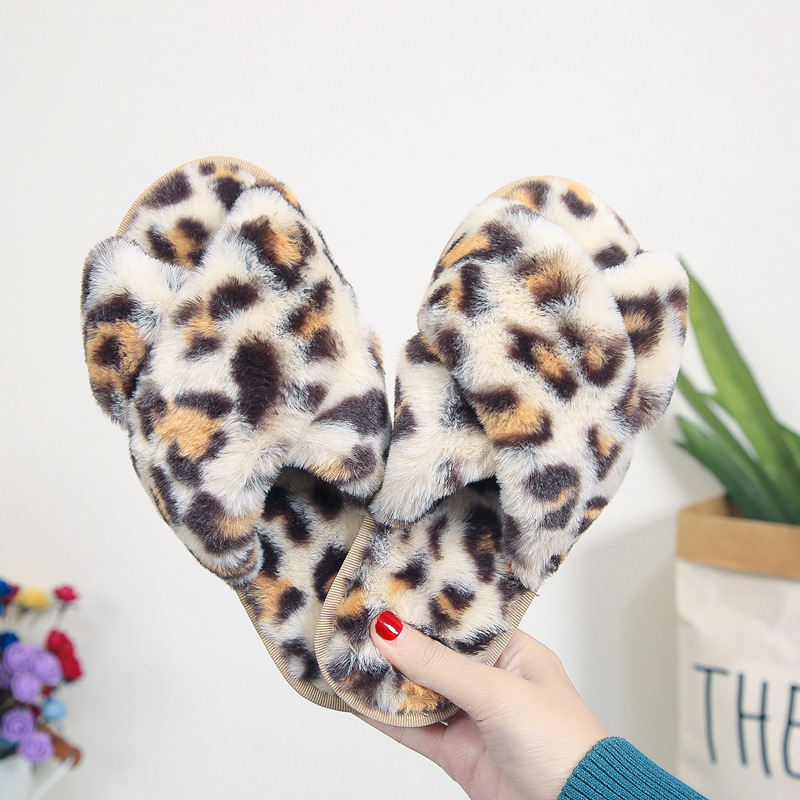 New leopard print cross wool slippers shoes women home indoor wood floor fashion plush cotton slippers
