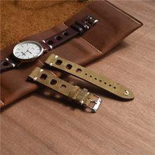 Одноцветный ремешок для часов из натуральной кожи с ручной строчкой винтажный ремешок для часов Ролекс Ремешки для наручных часов ремешок ...(Китай)