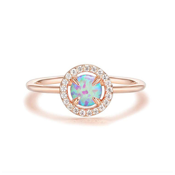 Fashion 14K Gold Plated Opal Zircon 925 Sterling Silver Adjustable Ring for women
