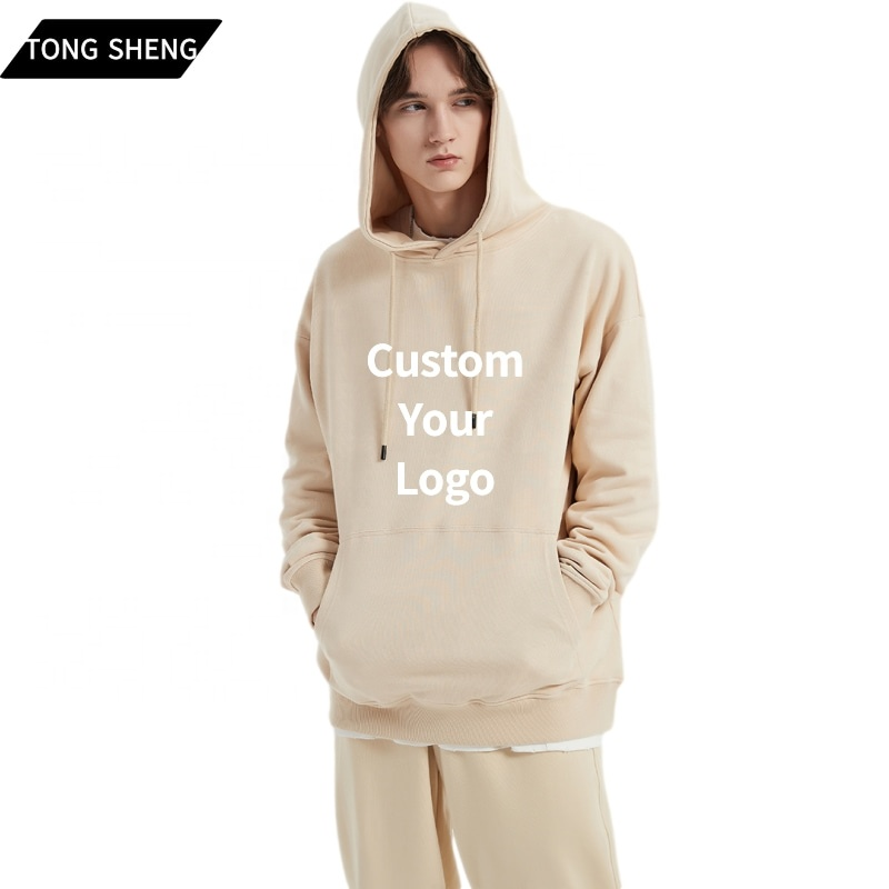 Wholesale Custom Embroidered Logo Cotton Blank Hoodies Oversized Plain Women's Men's Unisex Hoodies French Terry Hoodies
