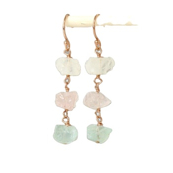 Raw Gemstone Dangle Earrings Moonstone Rose Quartz earrings Aquamarine earrings