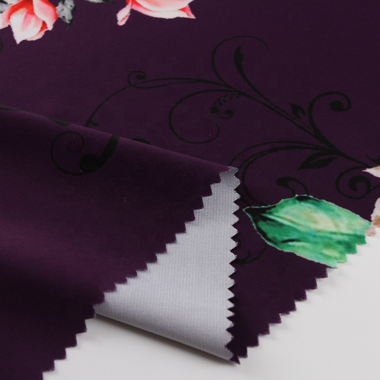 flower 100% polyester silky digital printing cheap satin fabric for one piece dress