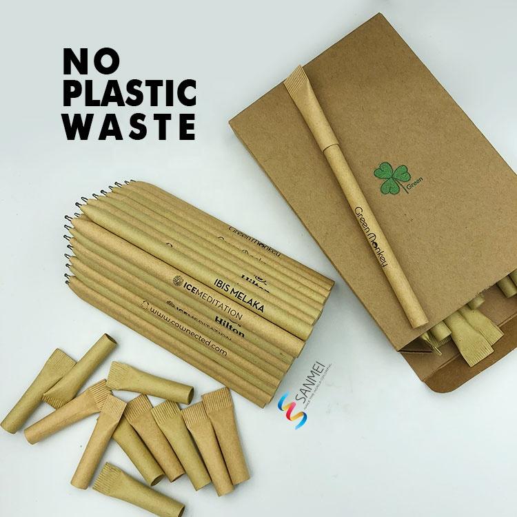 100% биоразлагаемая черная шариковая ручка Biro Rolling с переработанным логотипом на заказ, экологически чистая шариковая ручка из крафт-бумаги с подарочной коробкой