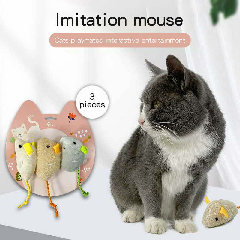 3 Piece Set Interactive Mini Funny Playing Teaser Scratcher Pet Plush Mouse Cat Toy