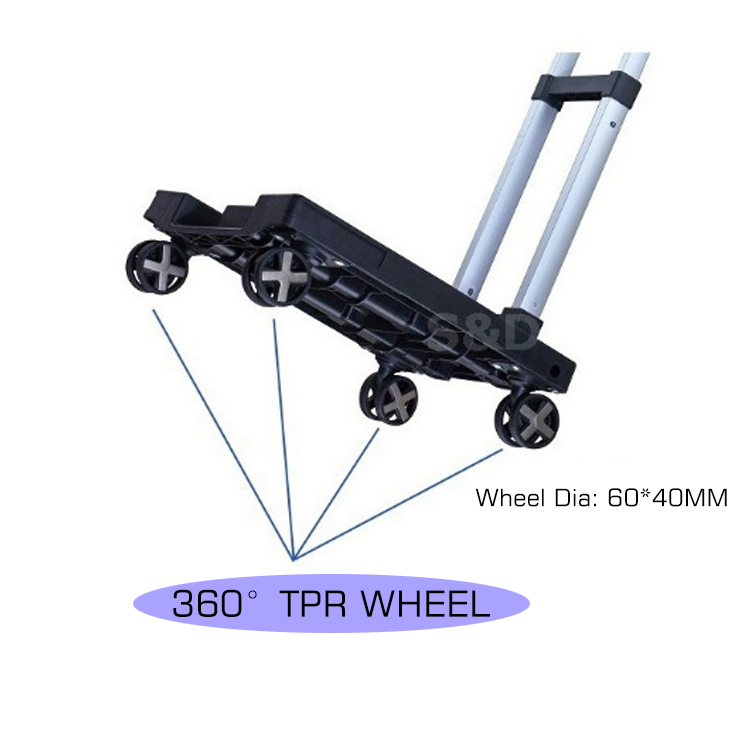 Foldable And Portable Luggage Cart Collapsible Hand Trolley Household Cargo Truck