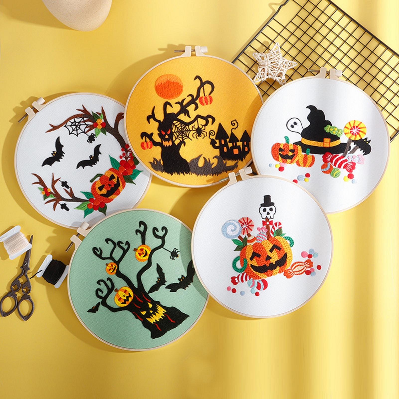 Halloween Embroidery Kit for Beginners  with Hoop, Thread, Needles, Full Kit, DIY Craft for Beginner