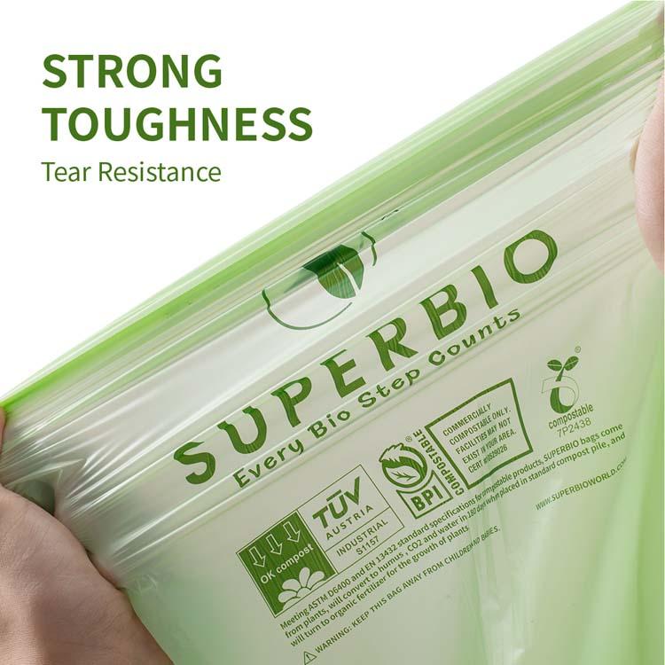 SUPERBIO 13 галлонов 100% биоразлагаемые мешки с листьями, очень толстые высокие кухонные мешки для мусора с ручкой