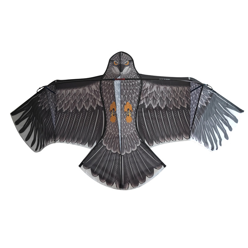 Protect Farm Crops Scaring Bird Simulated Black Flying Hawk Eagle Kite With Telescopic Pole