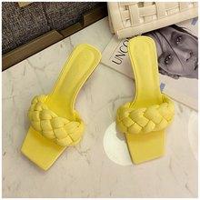 SUOJIALUN/2020 летние женские тапочки; Женские элегантные плетеные сандалии; Высококачественные женские модельные туфли-шлепанцы на тонком высок...(Китай)