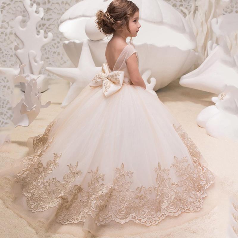 Hot Sell Performing Birthday Trailing Lace Flower Girl Formal Dress Beautiful Flower Girl Wedding Dress Girl Princess Dress