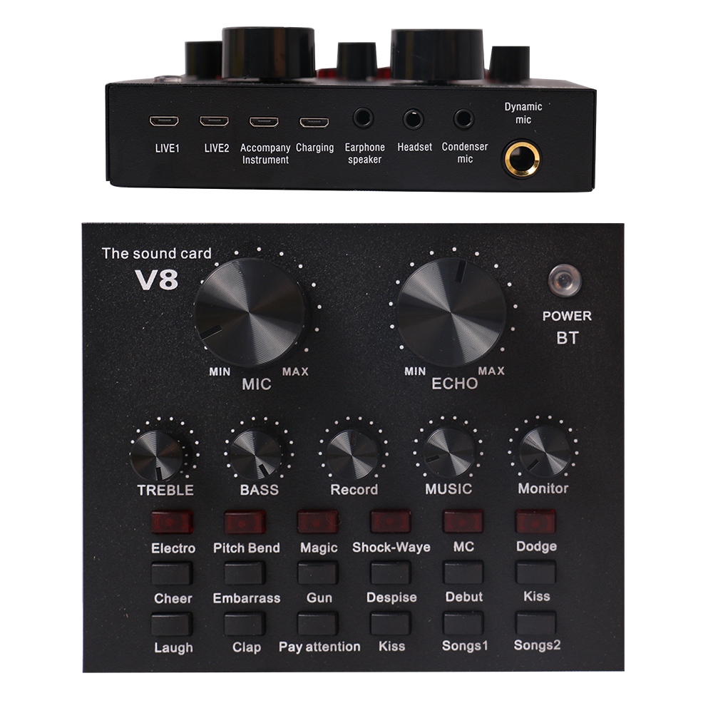 v8 Live sound card with mic set external phone singing live broadcast stream sound card for video