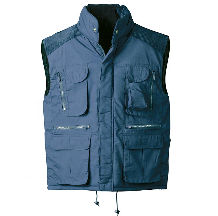 Navy Cotton polyester padded quilted working vest Trucker body warm waistcoat Outdoor Hunting and Fishing Kidney protection vest