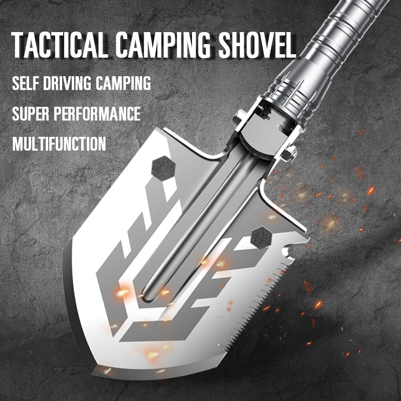 Amazon Hot Sale Multifunction Camping Shovel Handle Straight 8in OEM with Grey