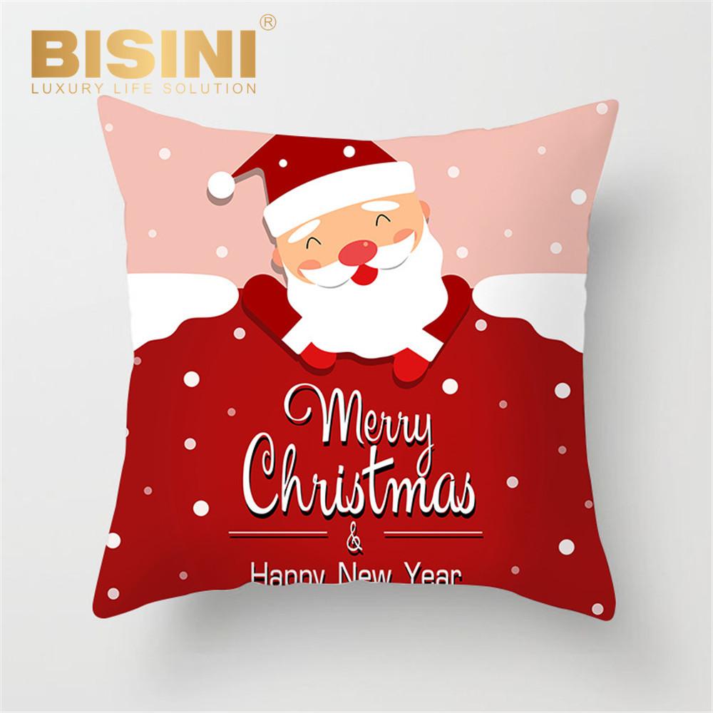 Pillow Case Cushion Cover Merry Christmas Santa Claus Cotton Sofa Xmas Decor