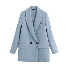 Женский двубортный пиджак KPYTOMOA, модный офисный пиджак свободного покроя с винтажными карманами, верхняя одежда, 2020(Китай)