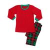 Red top plaid pants