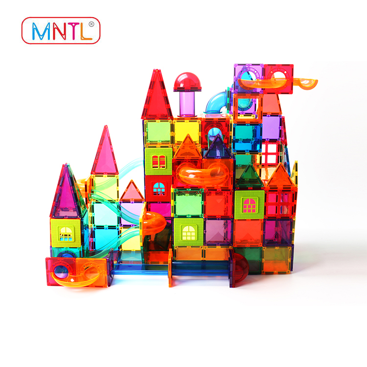 MNTL steam 81pcs colorful various shapes marble run toys set race track magnetic tiles wit balls CPSC, CE, EN71, ASTM