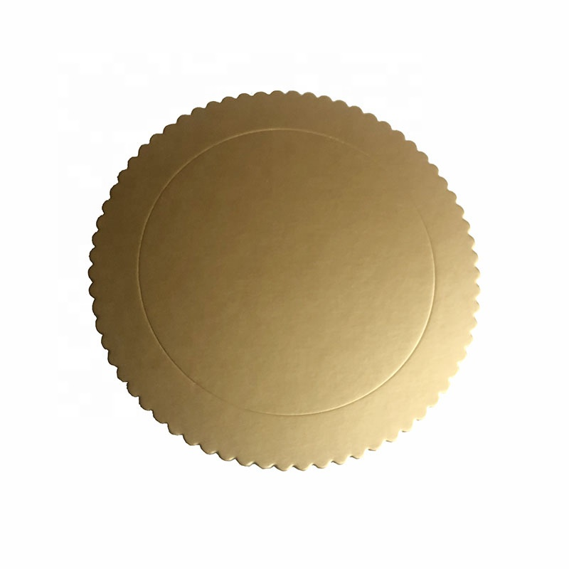 Yiwu aotong different color scalloped die cut edge round 2mm grey board cake board for cake decorate