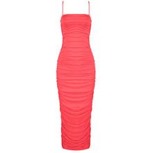 PB 2020 популярное Новое шикарное элегантная драпировка, дизайн сексуальные спагетти ремень молния сзади до середины икры вечерние платья зна...(Китай)