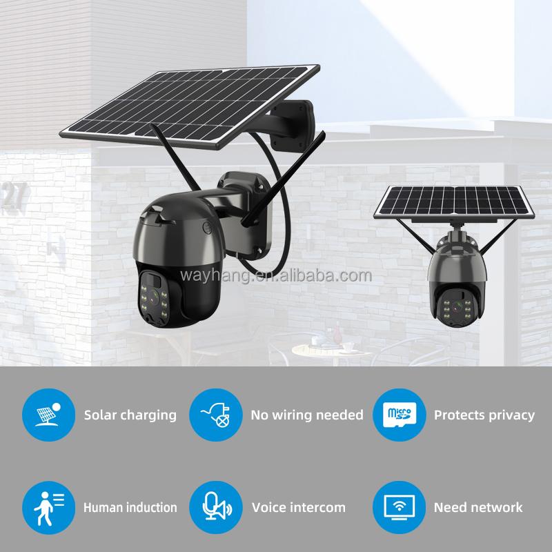Solar 4G WIFI Camera 2MP 1536p 1080P PTZ Camera Waterproof outdoor 4G LTE SIM Card Wireless Remote Control Color Night