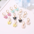 Trendy mixed color 10pcs MOQ Korean new earrings fashion blue pink gold color acrylic butterfly hoop earrings