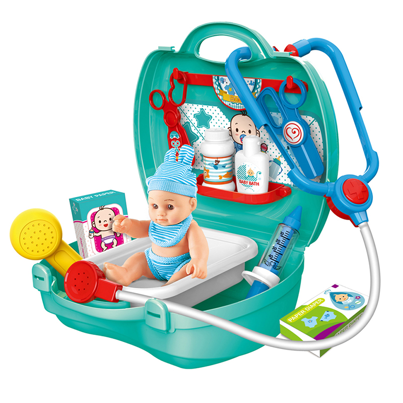 Newest Pretend Play Kids Doctor Cart Toy 17pcs Nurse Doctor Set Toy Educational Medical Kit Toy With Doll