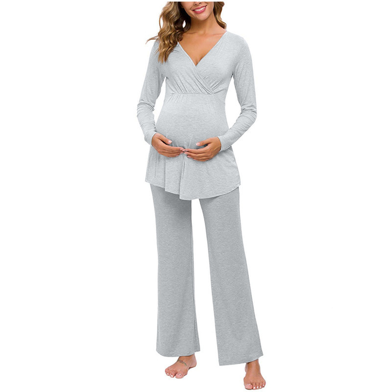 Пижама для кормящих матерей, модный однотонный Многофункциональный костюм с длинным рукавом и брюками