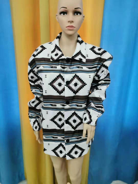 Модная однобортная мужская куртка с цифровым принтом и геометрическим рисунком, пальто в ацтекском стиле с лацканами
