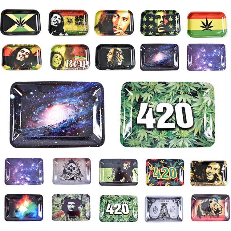 Бесплатный образец, бесплатная доставка, табак, сорняк, металлический жестяной поднос для курения