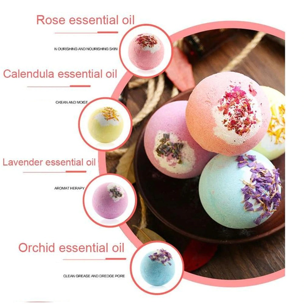 Natural Ingredient Colorful Ball Shape Salts Ball Spa Essential Oils Spa Supplies Kit Birthday Gift Set Kids Fizzy Bath Bombs