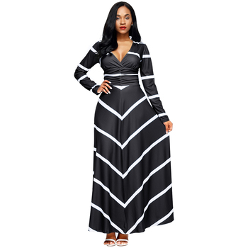 striped pattern v neck long sleeve sexy maxi dress
