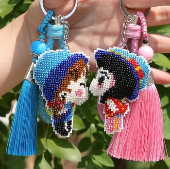 Lovers bead cross stitch kit unifinished DIY Keychain rope tassel