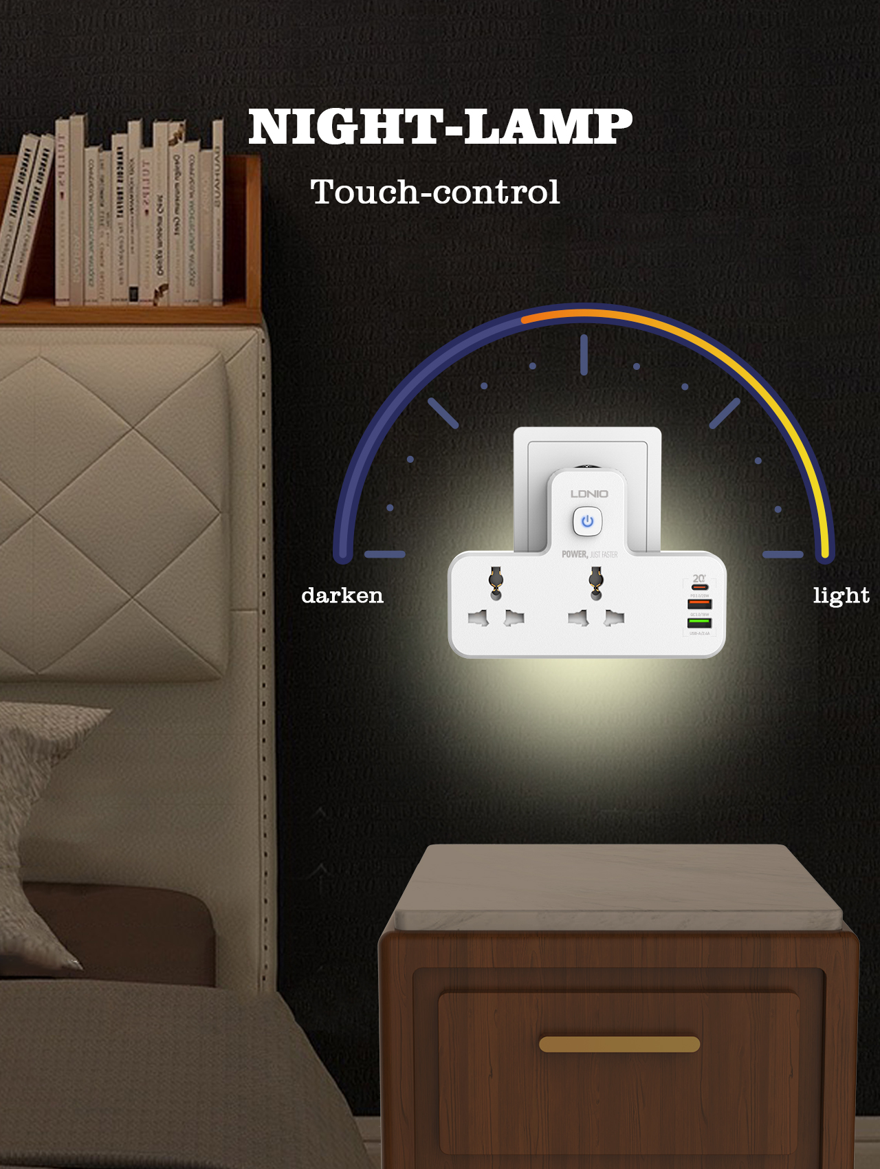 LDNIO SC2311 Plug Extension Multi Plug Extension Sockets with USB Wall Plug Adapter 3 Way Turn 1 into 3 Power Extension Adapter